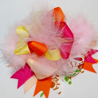 Super funky loopy colorful surprise with monkeys hair bow