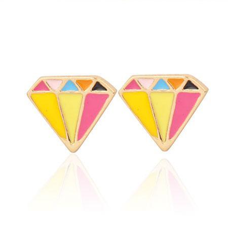Colorful Diamond Shape Earring