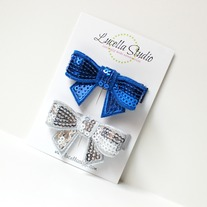 Blue and silver sequin bow clips