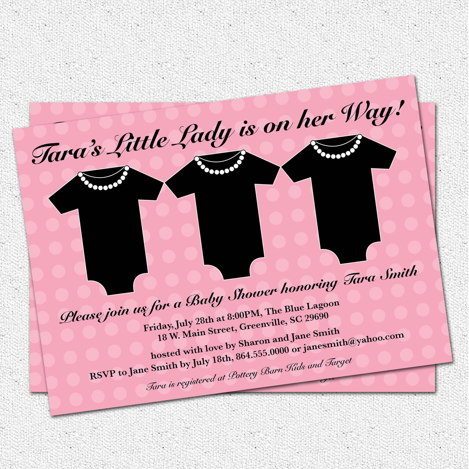 Baby Shower Invitations, Girl, Little Lady, Pink and Black, Little ...