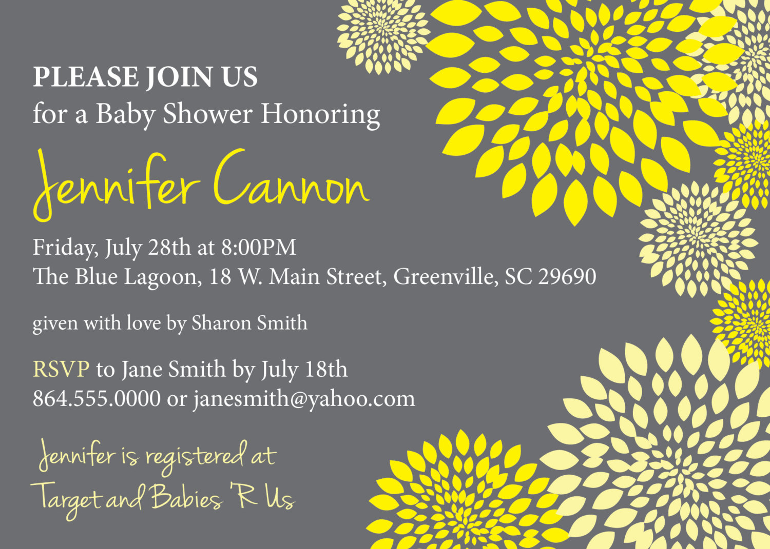 Baby shower invitations gender neutral boy or girl yellow and baby shower invitations gender neutral boy or girl yellow and charcoal grey gray floral modern filmwisefo Images