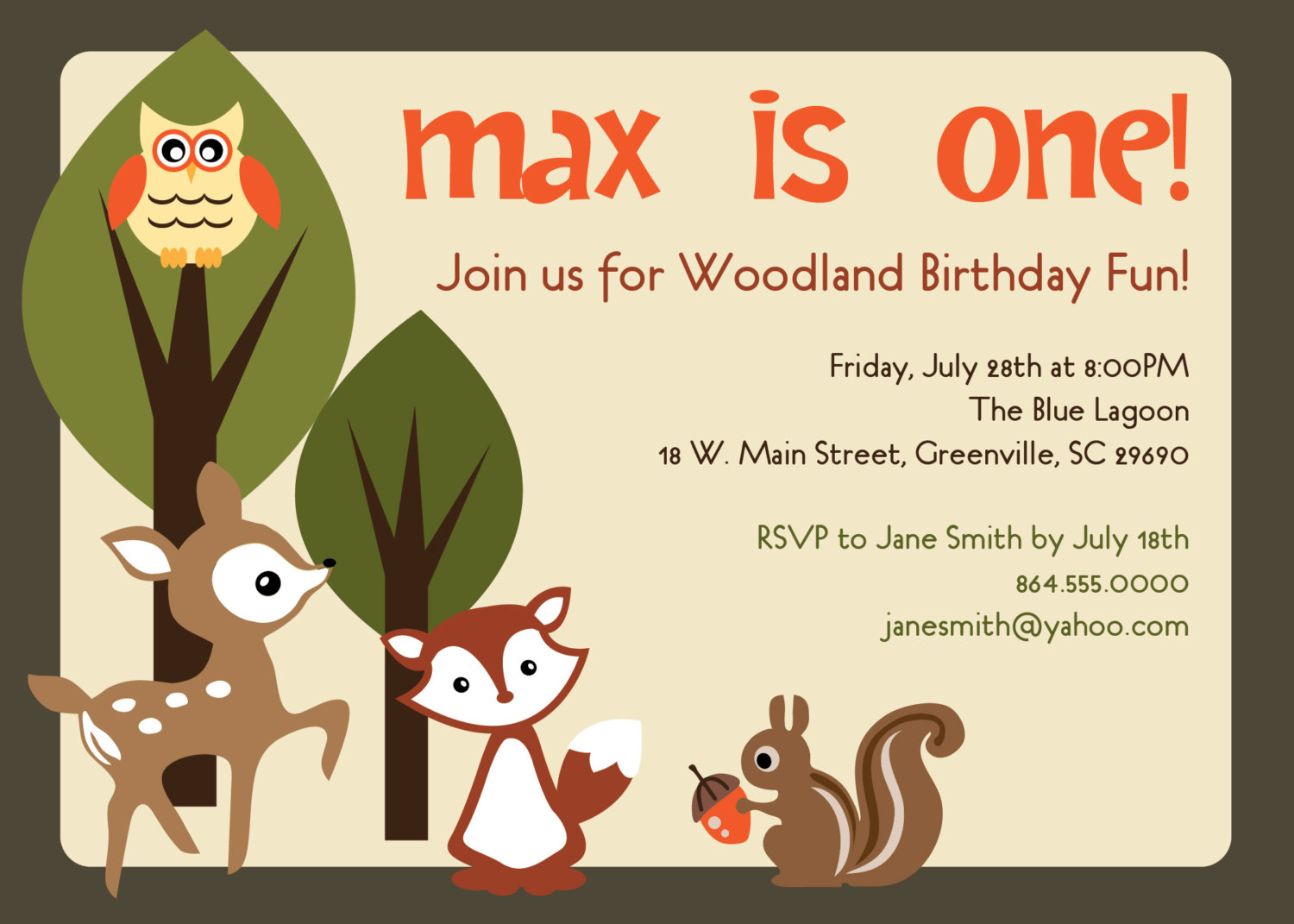 Woodland birthday invitations animals creatures friends forest woodland birthday invitations animals creatures friends forest deer owl squirrel fox stopboris Choice Image