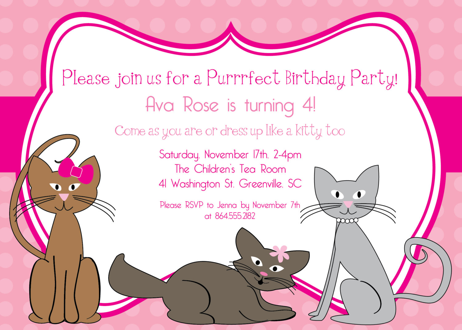 Kitty Cat Birthday Invitation, Kitten, Kitties, Pink, Polka Dots ...