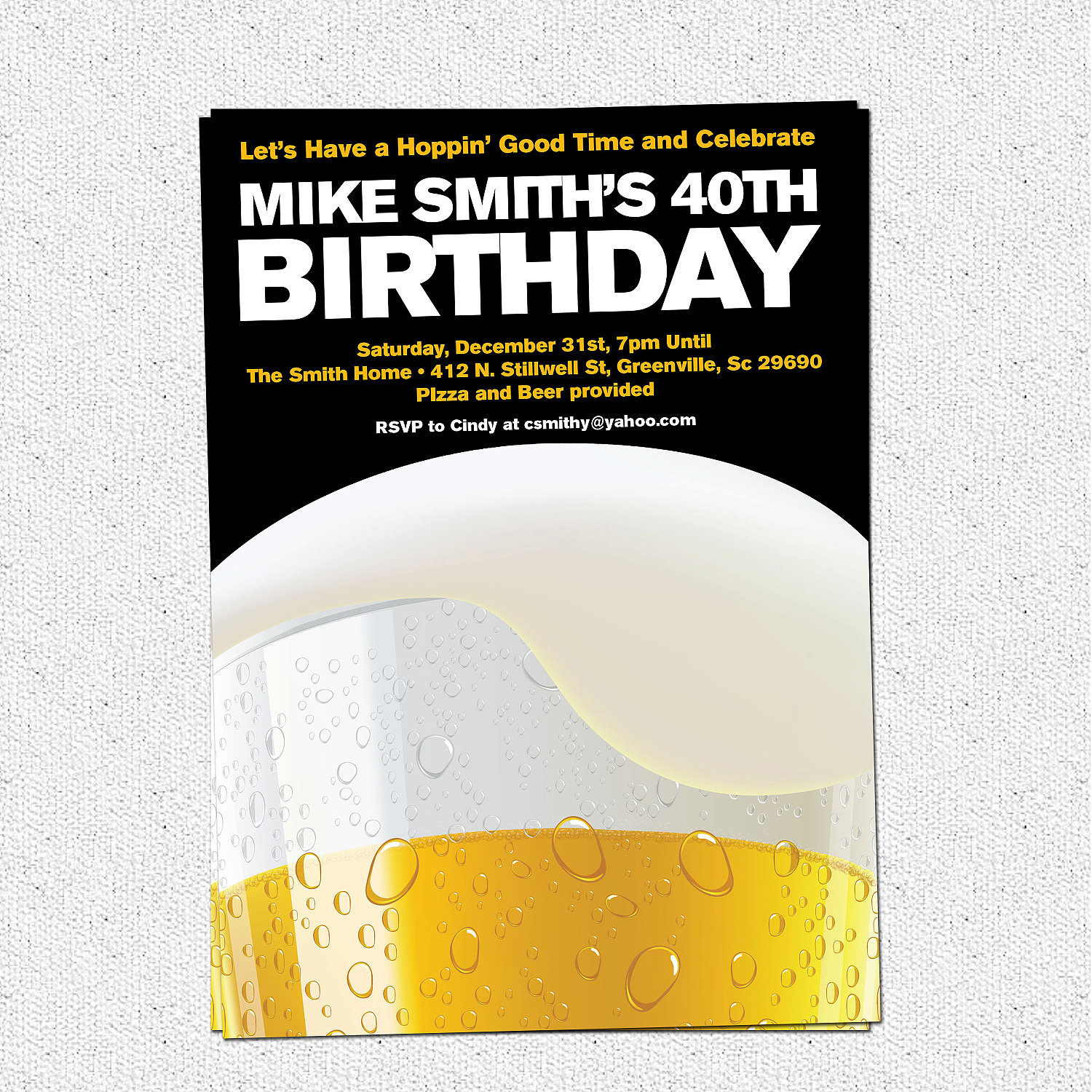 Beer Party Invitations, Birthday, 21st, 30th, 40th, Milestone, SET ...