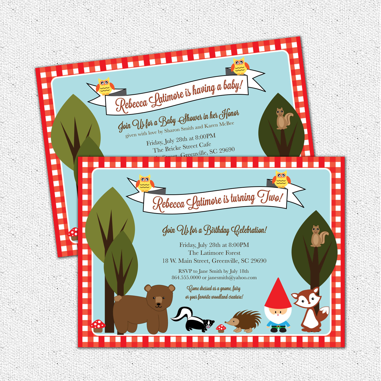 Woodland Baby Shower or Birthday Invitations, Animals Creatures Gnome