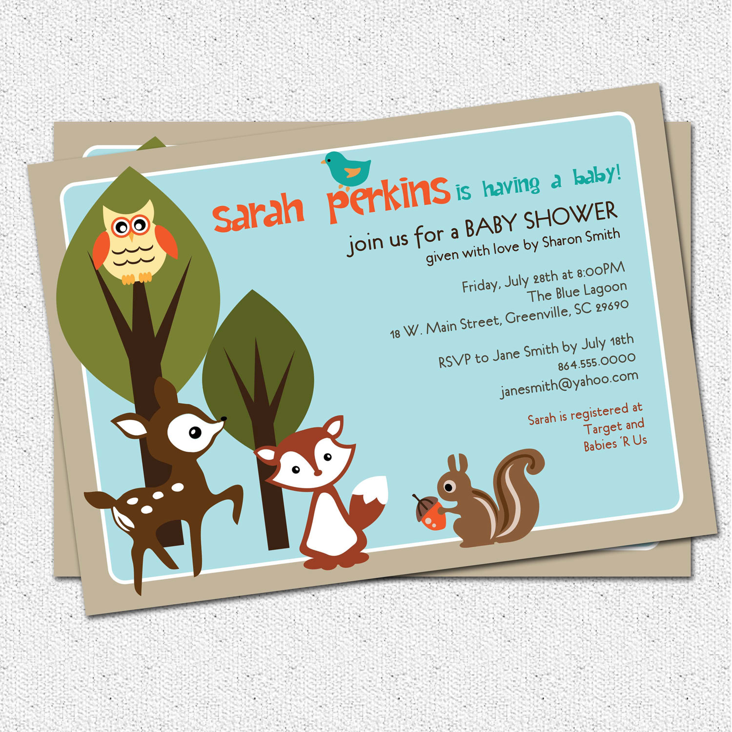 baby shower invitations, woodland animals creatures forest, unisex, Baby shower invitations