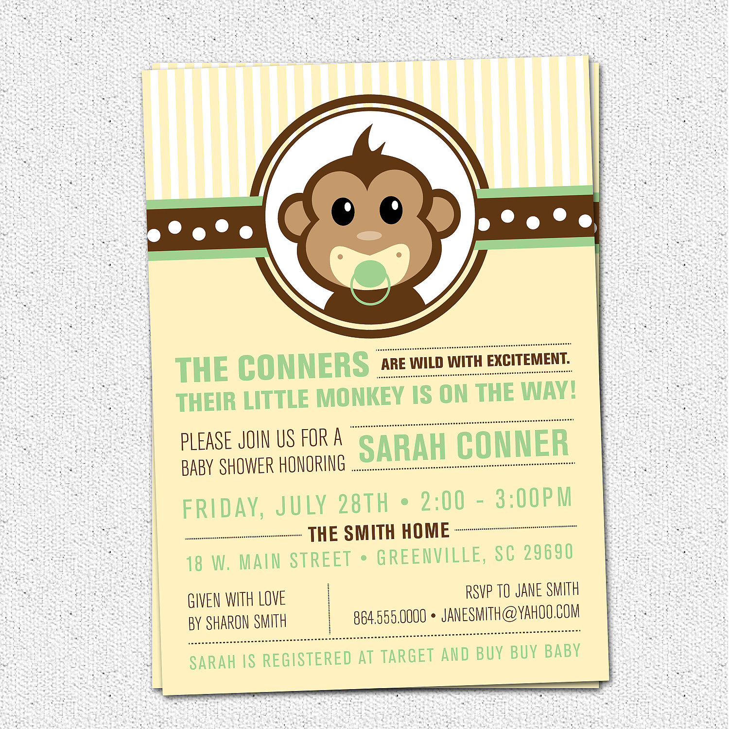 Little Monkey Baby Shower Invitations, Modern, Preppy, Gender ...