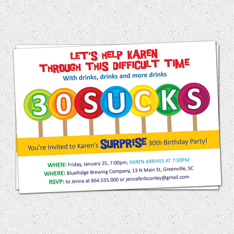 Sucks Birthday Party Invitations Suckers Lollipops Blows
