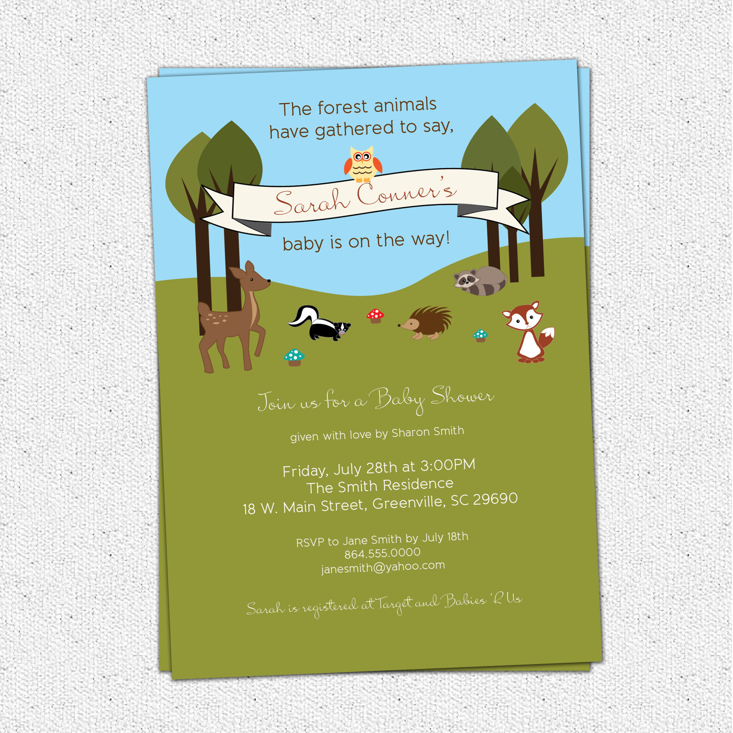 baby shower invitations woodland animals creatures forest deer owl squirrel fox