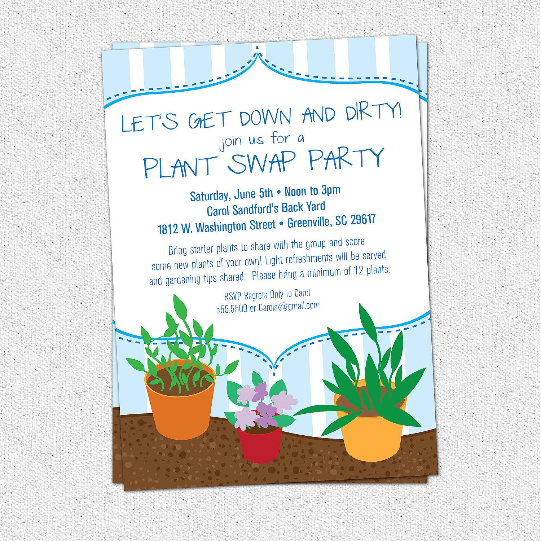 Plant Swap Invitation, Party, Plants, Gardening, Garden, SET OF 10 ...