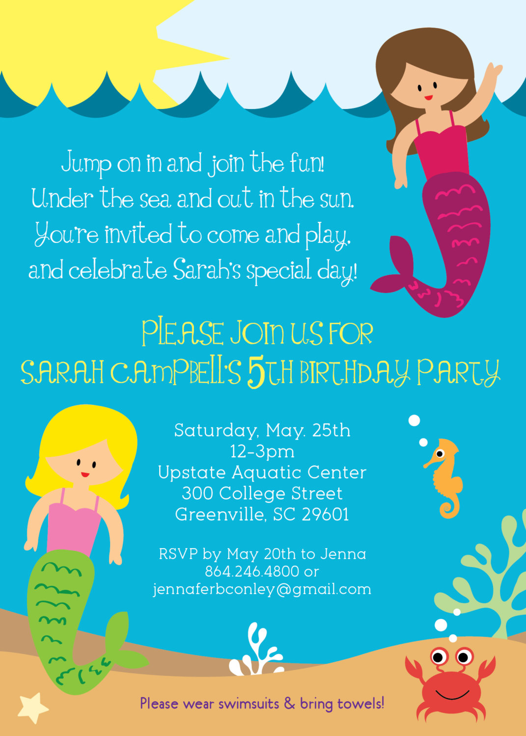 Mermaid Birthday Party Invitation Girl Under The Sea Life Creatures Summer