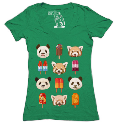 Pandas & pops women's deep v-neck