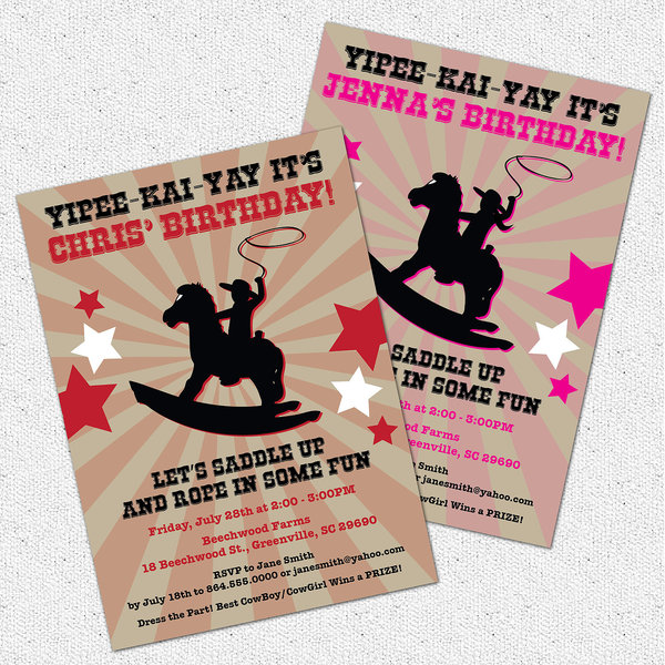 Cowboy Cowgirl Birthday Party Invitations Rocking Horse Boy or – Cowboy Party Invitation Wording