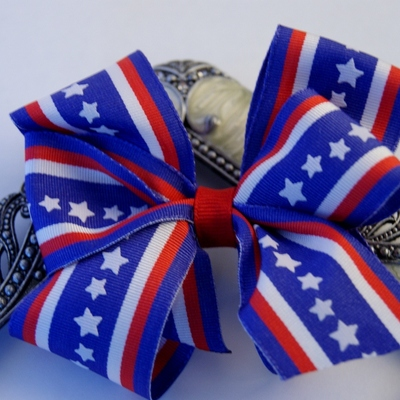 Blue, red, and white stars layered boutique hair bow