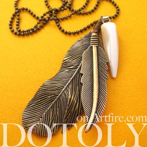 Simple Feather Bohemian Inspired Necklace in Bronze