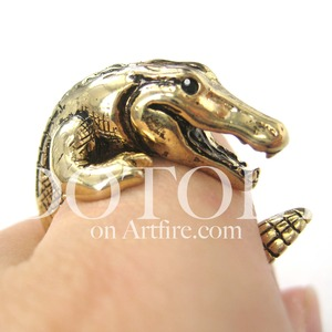 3D Crocodile Dragon Animal Wrap Around Ring in SHINY Gold Sizes 5 to 9