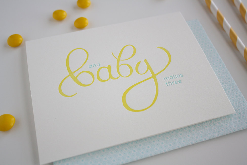 Baby letterpress greeting card baby makes three honizukle press baby letterpress greeting card baby makes three m4hsunfo
