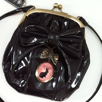 Black Gothic Lolita Purse Pink Rabbit Bow Kisslock Clasp Pouchette Shoulder Bag