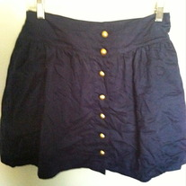 Navy, Gold Button up Skirt