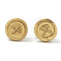 Antique Gold Button Earrings