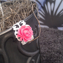 Pink/White Rose Filigree Ring