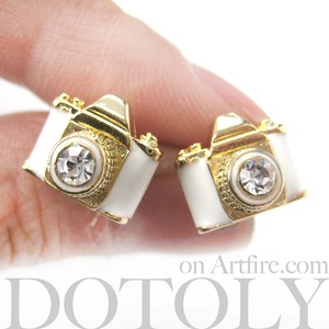 Tiny Camera Stud Earrings in White on Gold with Rhinestone Lens
