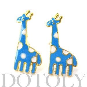 Unique Polka Dotted Giraffe Animal Stud Earrings in Blue and White