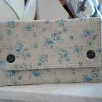 Double Snap Wallet - Linen Blue Rose