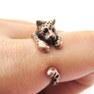 Miniature Leopard Cheetah Animal Wrap Around Ring in Copper - Sizes 4 to 9 Available