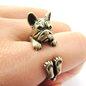 Realistic French Bulldog Shaped Animal Ring in Bronze | Size 4 to 8.5