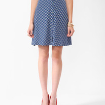 S forever 21 blue white polka apple dot print satin high pin-up mini skirt