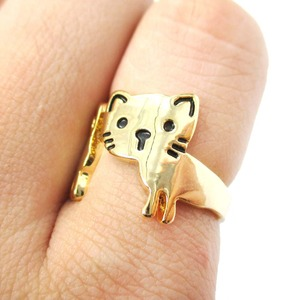 Cute Simple Kitty Cat Shaped Animal Wrap Ring in Gold | Size 5 to 7