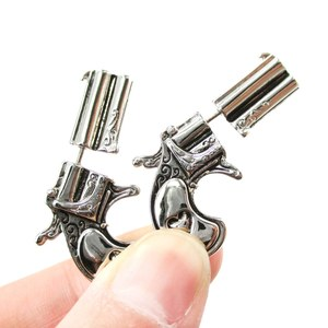 Realistic Guns and Pistols Shaped Fake Gauge Stud Earrings in Shiny Silver