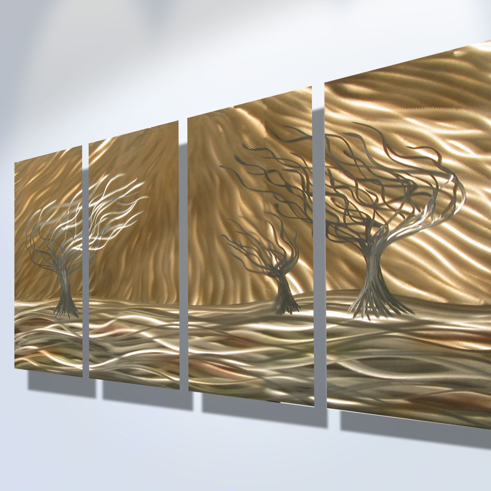 Metal Wall Decor Cheap 3 Trees 4 Panel  Abstract Metal Wall Art Contemporary Modern