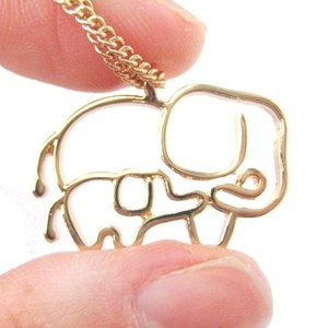 Simple Elephant Mother and Baby Animal Charm Outline Necklace in Gold