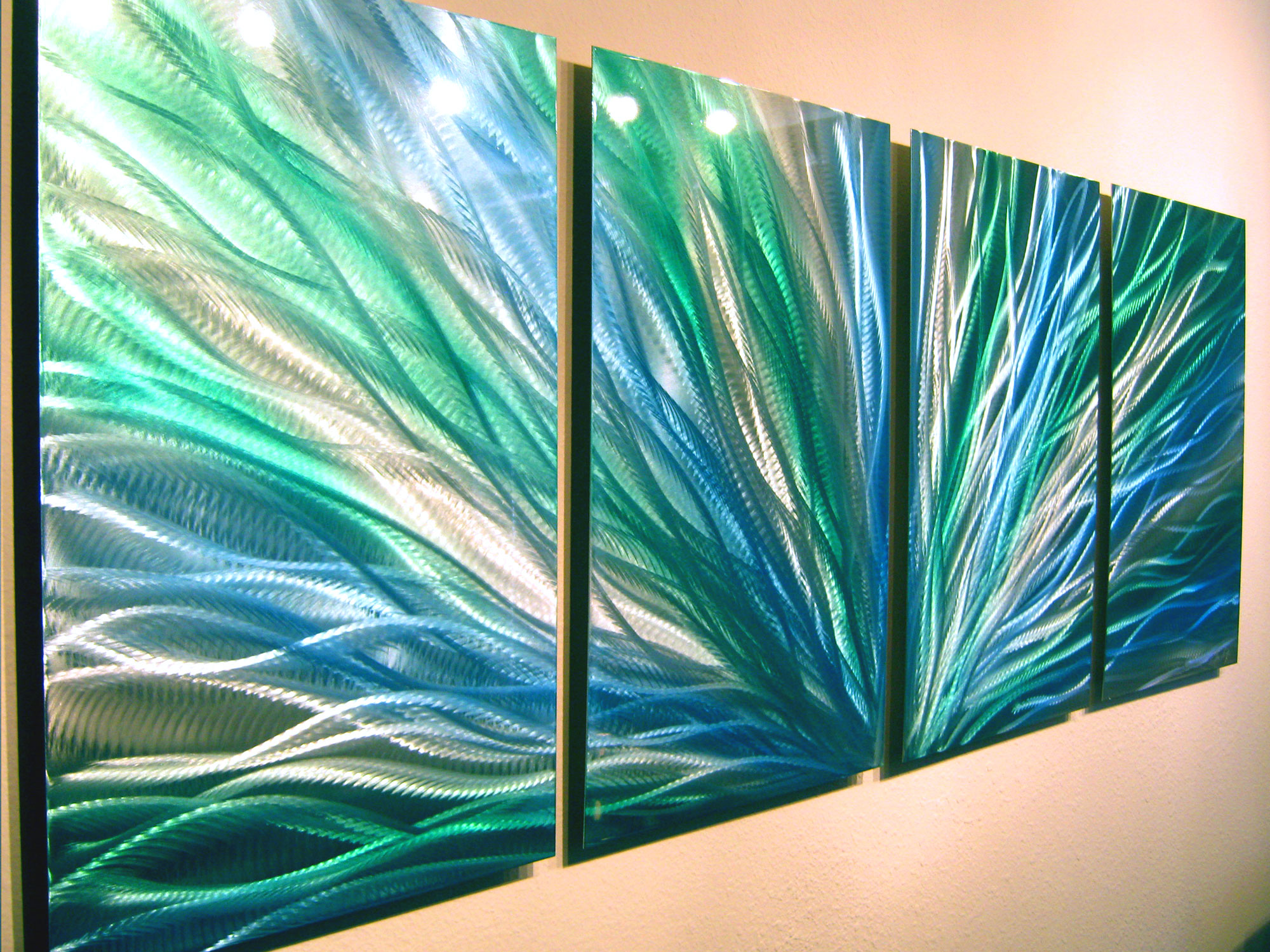 Radiance Blue Green Abstract Metal Wall Art Contemporary