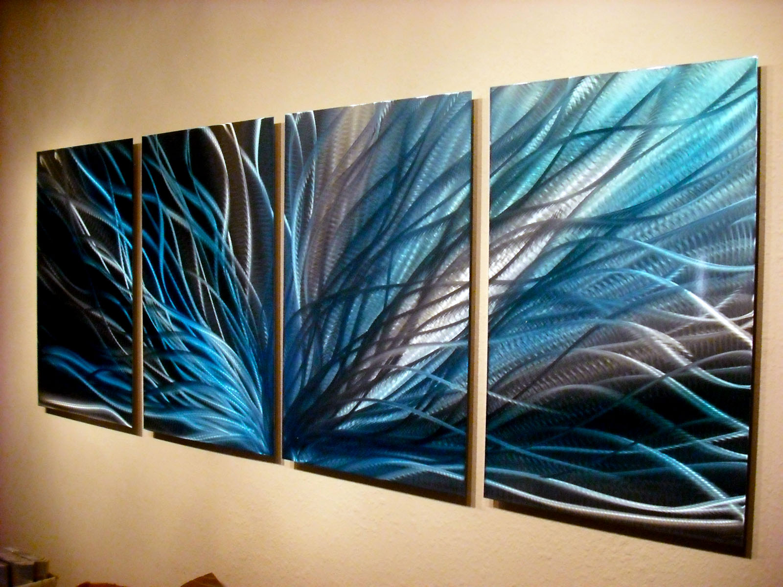Radiance in blues abstract metal wall art contemporary modern decor inspiring art gallery - Contemporary wall art decor ...