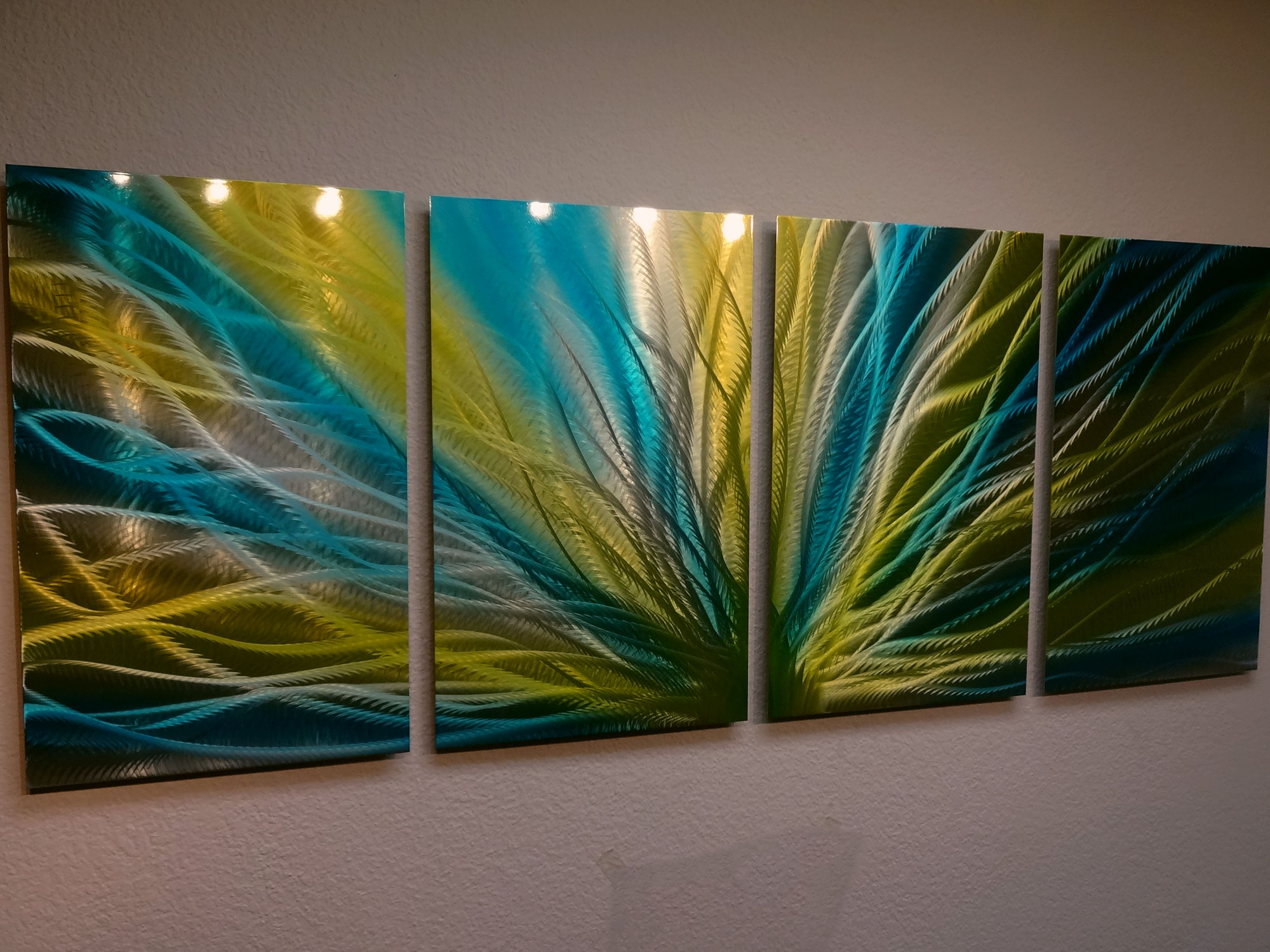 Colorful Metal Wall Art Radiance Blue Yellow Metal Wall Art Abstract Contemporary Modern