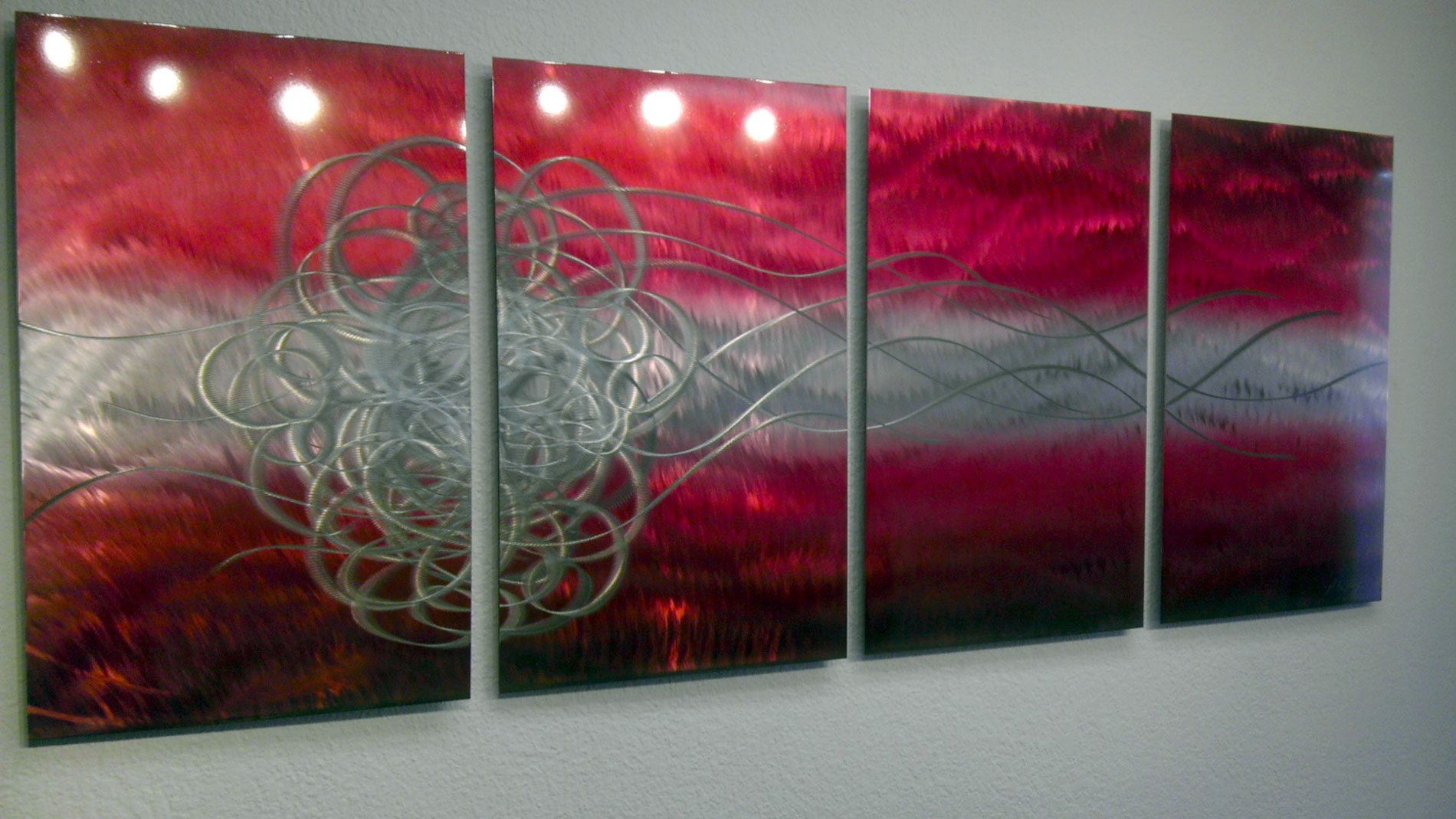 Torrent in red abstract metal wall art contemporary for Red metal wall art