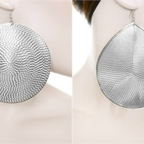 Silver Large Medallion Disk Earrings - Round or Teardrop