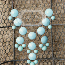 large knotiebubble necklace - aqua w/gold