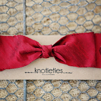big silk knotiebow headband - red