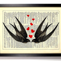 Image of Swallows In Love, Vintage Dictionary Print, 8 x 10