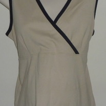 Tan/Black Sleeveless Shirt-Motherhood Size Large