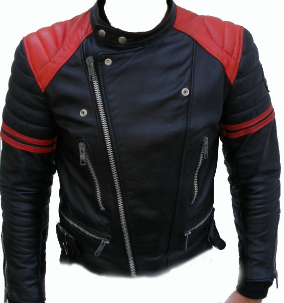 Mens bomber leather jacket. Men Black And Red Leather Jacket With ...