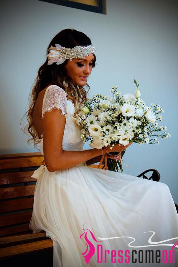 Beach Wedding Dresses,Cap Sleeves Backless Lace Summer Wedding Dress ...
