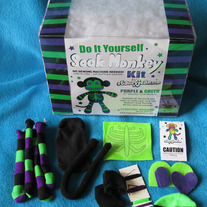 Deluxe Purple/Green Skeleton Sock Monkey DIY Kit