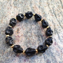 Black Skull Bracelet with Spacers