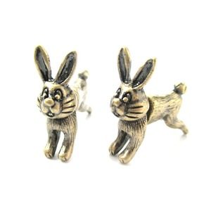 3D Fake Gauge Cute Bunny Rabbit Animal Stud Earrings in Bronze