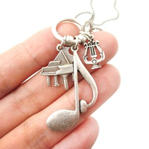 Music Themed Grand Piano Quaver Note Harp Charm Necklace in Silver